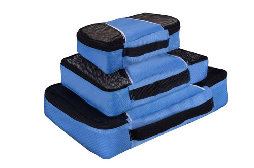 Vinsani 3 Piece Packing Cubes Travelling Holiday Breathable Carry on Suitcase Organisers (Blue)