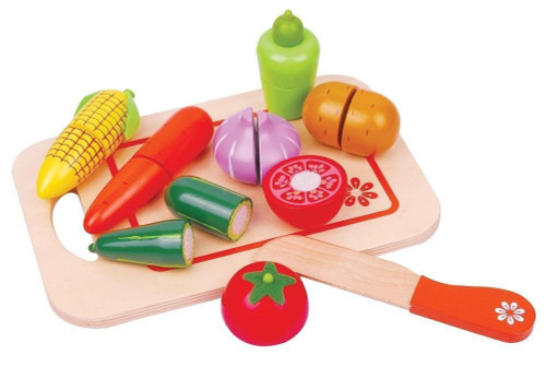 Lelin Wooden Vegetable Cut Food Toy Kitchen Shopping Grocery For Childrens