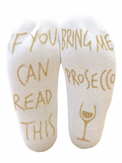 Vinsani 'If You Can Read This Bring Me Prosecco' Funny Ankle Socks - Perfect Wine Lover Gift!