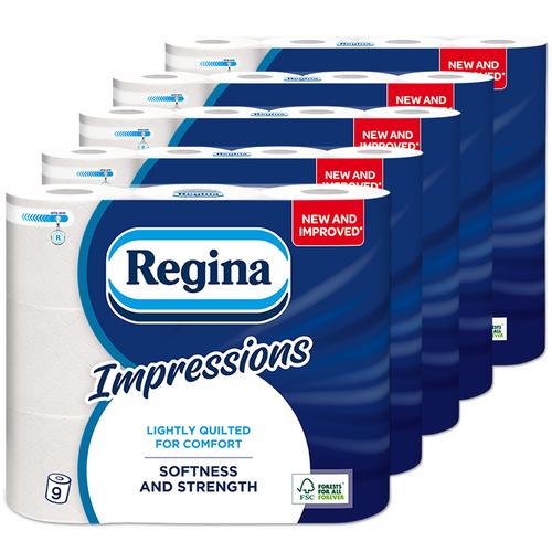 45 Roll of Regina Impressions 3 Ply Toilet Tissue Paper Roll – 160 Sheets per Roll