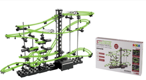 SOKA® 10 Meter Level 2 Glow In The Dark Marble Run Roller Coaster - Perfect Educational Creative Toy Construction Building For Kids Boys & Girls