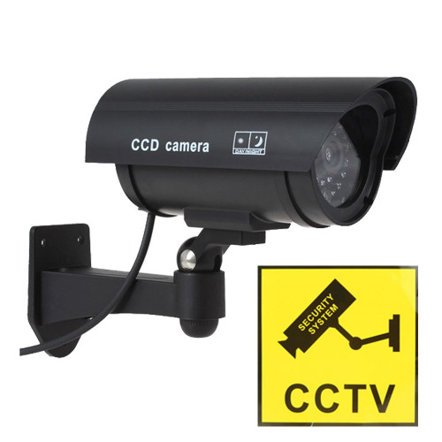 Vinsani Fake Dummy Imitation CCTV Security Surveillance Camera Fake Red IR LED Outdoor Indoor with CCTV Warning Sticker