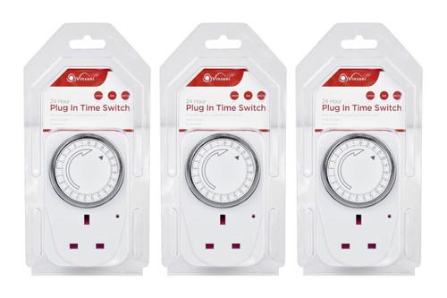 3 X Vinsani® 24 Hour Plug-in Segment Timer Switch Energy Saving Programmable Mechanical Timer Standard Size UK Plug