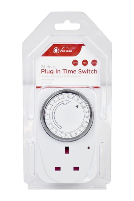 Vinsani® 24 Hour Plug-in Segment Timer Switch Energy Saving Programmable Mechanical Timer Standard Size UK Plug