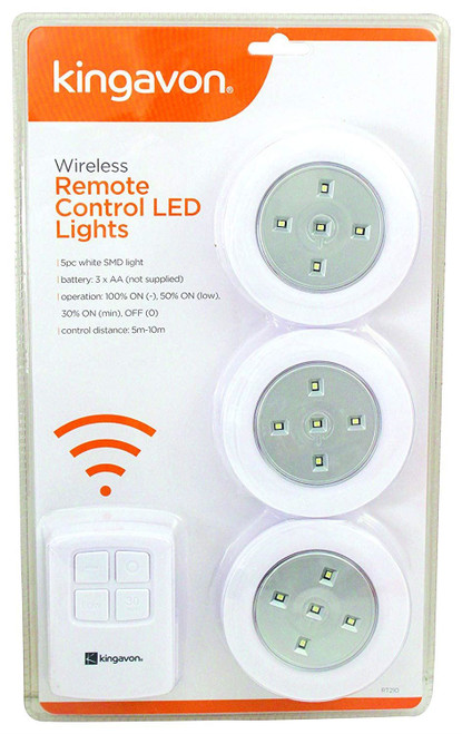 Kingavon Wireless Remote-controlled battery operated LED lights - White