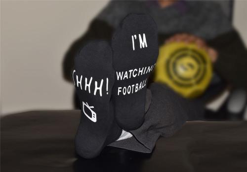 Vinsani 'Shhh I'm Watching Football' Funny Ankle Socks, Gift For Football Fans - Black