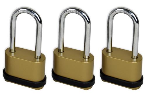Vinsani 4 Digit Long Shackle Combination Padlock Security Home Shed Gate Garage - 3 x Padlocks