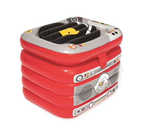 Bestway Inflatable Party Turntable Cooler Jukebox Beverage Storage Box Beach Pool Float Accessory - Red