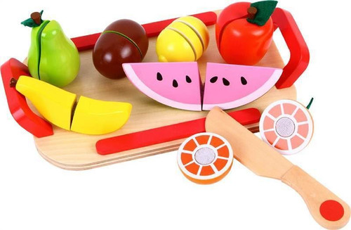 Lelin Wooden Cutting Fruit Play Set Childrens Food Pretend Play