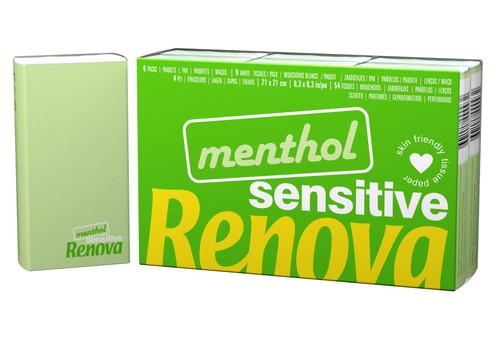 Renova Menthol Sensitive Tissues Handkerchiefs (6 packs of 9) - Extra Soft