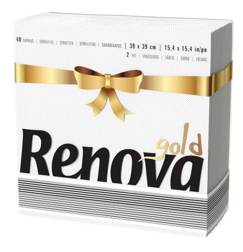 Renova Gold White 40 White Napkins 2ply 39 cm - Ideal For Dinner or Party