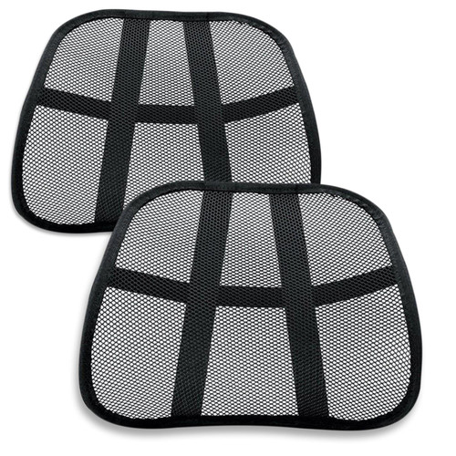 Super Comfort Mesh Lumbar Back Seat Sit Support System - 2 Pack - Pain Relief for Office Chair Seat with Elasticated Positioning Strap