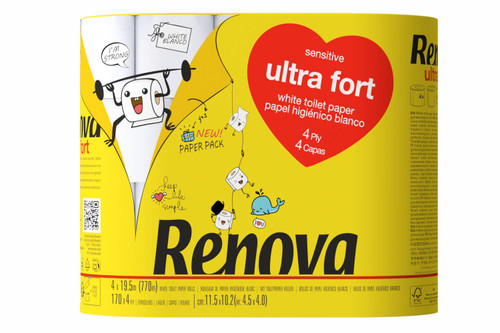 Renova Ultra Fort 4 Ply Toilet Tissue Paper - Pack of 20 Rolls - Eco-Friendly Paper-Packed