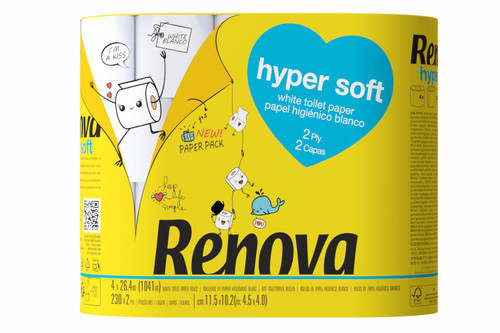 Renova  Hyper Soft Toilet Tissue Paper - Pack of 20 Rolls - Eco-Friendly Paper-Packed