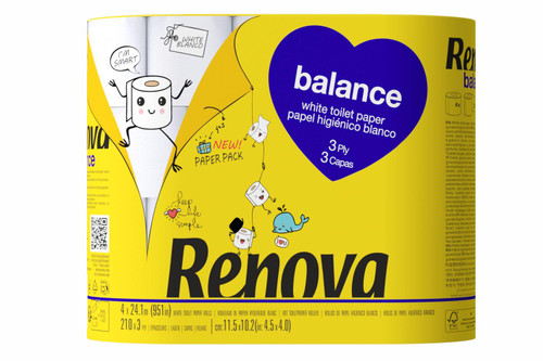 Renova Balance Toilet Tissue Paper - Pack of 20 Rolls - Eco-Friendly Paper-Packed