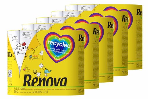 Renova Recycled Toilet Tissue Paper - Pack of 20 Rolls - Eco-Friendly Paper-Packed 100% Recycled