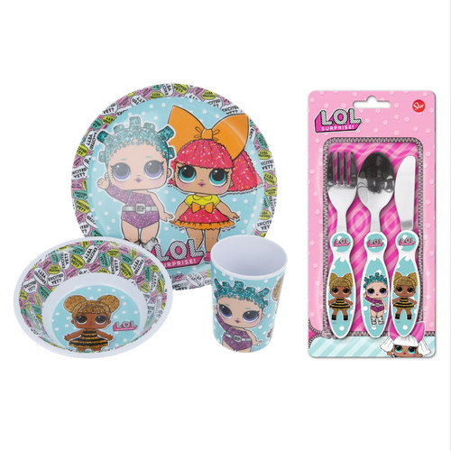 L.O.L Surprise! Kid's Dining & Cutlery- Plate, Bowl, Tumbler, Knife, Fork, Spoon