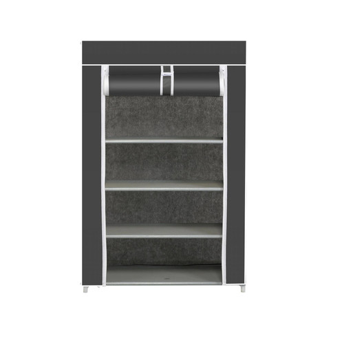 Vinsani® 5 Tier Canvas Shoe Rack For Party Gym Work Shoes & Footwear - Grey