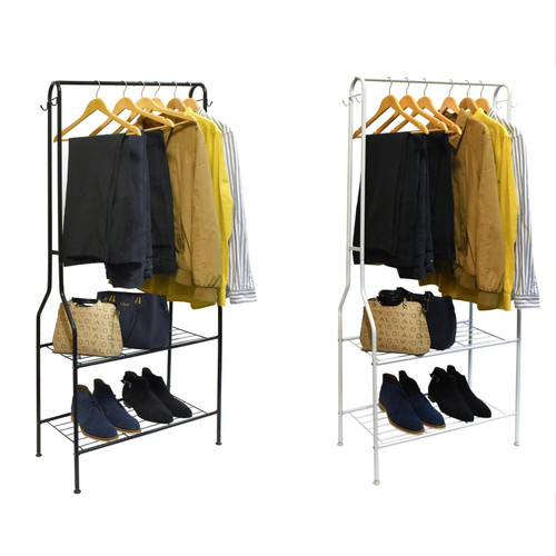 Vinsani® Heavy Duty 2 Tier Multi Purpose Organiser Clothes Rail & Shoe Bench Stand Rack For Entrance Hall Home Office