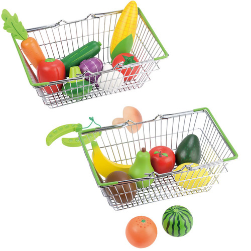 Lelin Toy Shopping Basket Fruit and Vegetable Set Creative Pretend Play Toys For Kids Perfect Gift For Boys and Girls