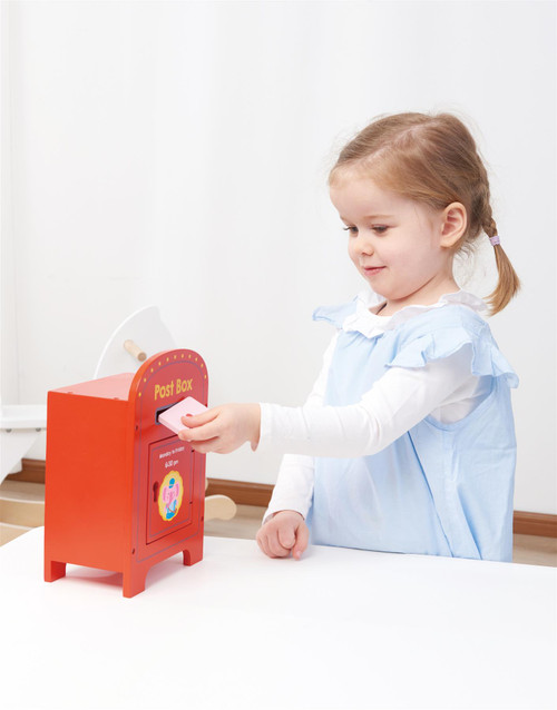 Lelin Wooden Post Box Cute Elephant Stamps and Mail Creative Pretend Play Toy For Kids