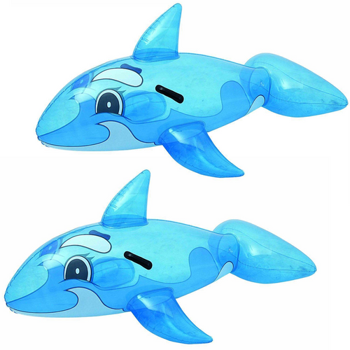 """PACK OF 2 62"""" Inch Childrens Inflatable Whale Ride On Swimming Pool Beach Lilo Float Toy"""