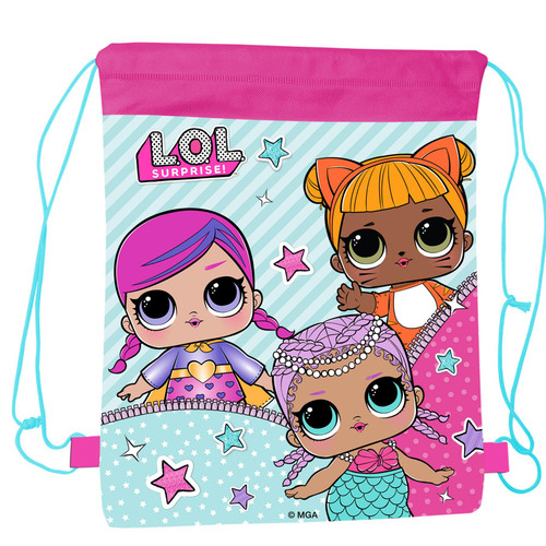 L.O.L SURPRISE! Rectangular Drawstring Bag for Girls and Teens Featuring Cartoon Dolls Print - Kids Pull String Bag for Lunch, Clothes, Books, Shoes