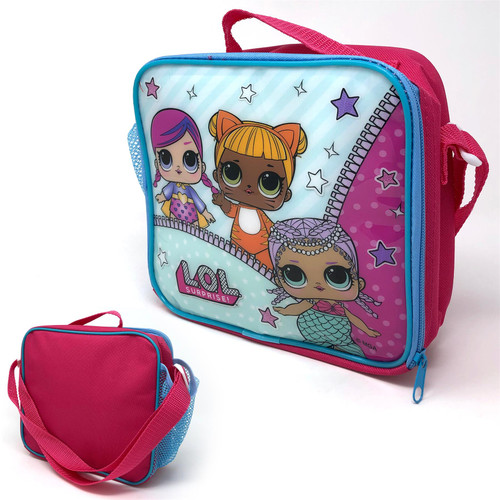 L.O.L SURPRISE! Rectangular Insulated Lunch Bag With Mesh Side Pocket & Shoulder Strap For Girls & Teens Featuring Cartoon Dolls Print - Kids School Bag for Lunch