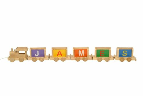 Vinsani Personalised Name Wooden Alphabet Train Letters - (Includes A Free Magnetic Carriage With Each Letter)
