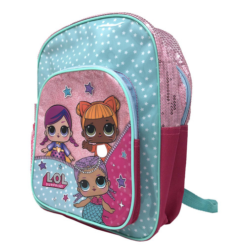 L.O.L SURPRISE! Deluxe Glitter Front Pocket Backpack For School Travel Gym - Rucksack With Carrying Handle & Zipper Featuring Cartoon Dolls Characters -31cm x 24cm x 10.5cm