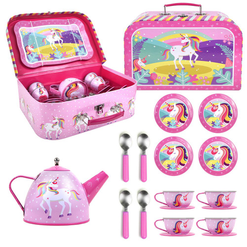SOKA® Unicorn Metal Tea Set & Carry Case Toy for Kids - 18 Piece Illustrated Colourful Design Toy Tea Set for Children Role Play