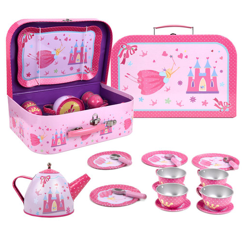 SOKA® Fairy Tale Metal Tea Set & Carry Case Toy for Kids - 18 Piece Illustrated Colourful Design Toy Tea Set for Children Role Play