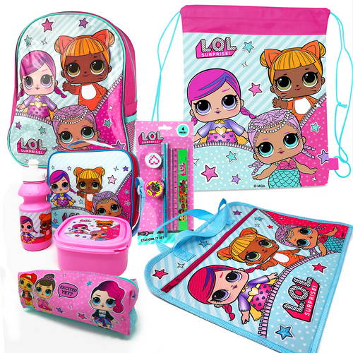 L.O.L Surprise 8PC Back to School Bundle - Backpack, Drawstring Sports Bag, Insulated Lunch Bag, Sandwich Box, Water Bottle, Zip Book Bag, Pencil Case & Stationery Set