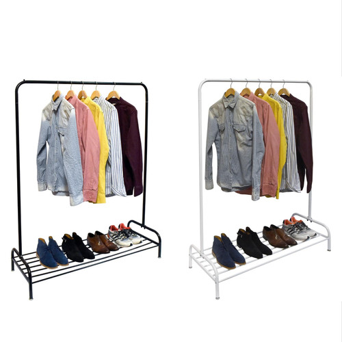 Vinsani® Heavy Duty Metal Clothes Rail Stand with Single Hanging Rail and Lower Storage Shelf - Modern Minimalist Design Organiser For Dresses Boxes & Shoes 160x45x120cm