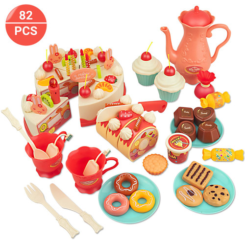 SOKA® 82 pcs DIY Make Your Own Birthday Cake Toy for Kids with Musical Lighted Candle- Complete Pretend Play Toy Food Set Including Tea Pot, Tea Bags, Cakes, Biscuits and Cutlery