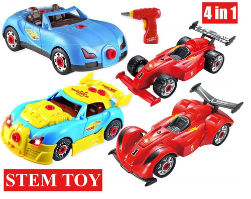 SOKA® 4 in 1 Sports Racing Car Stem Toy Set – 54 Take Apart Pieces Build Your Own Car Toy for Kids with Tool Drill, Lights and Sounds