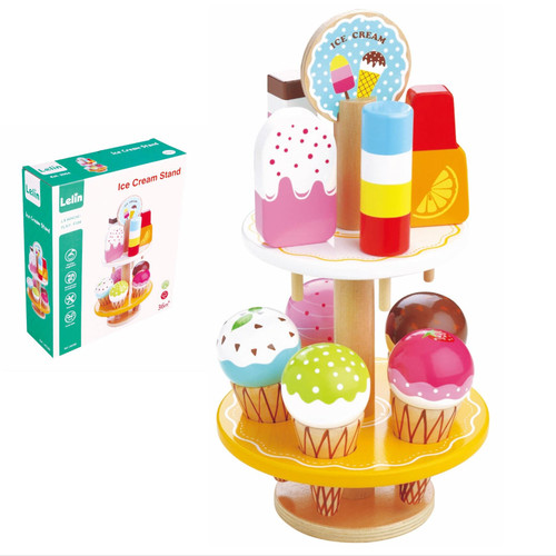 LELIN 10 pcs Wooden Ice Cream Stand Pretend Play Kitchen Food Toy Set