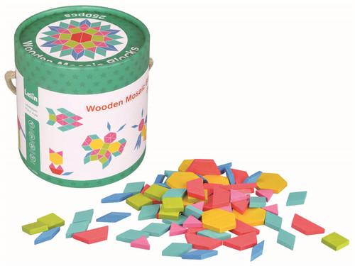 Lelin 250 Pcs Wooden Mosaic Blocks Set - Pattern Blocks Classic Developmental Toy of Wooden Shape Blocks