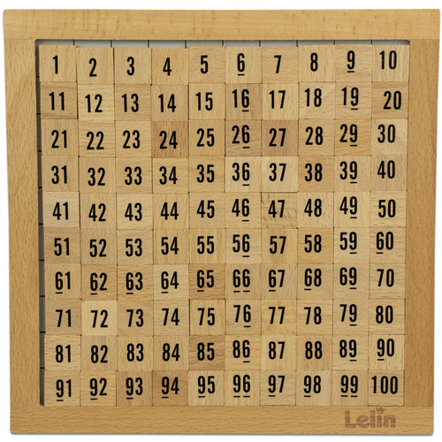 LELIN Wooden Hundred Board Game Toy- 1 To 100 Consecutive Numbers For Montessori Maths Educational Learning for Kids