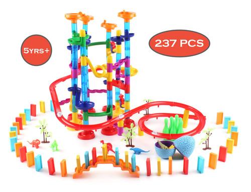 SOKA 237 pcs Marble Run Dinosaur Game for kids – Deluxe Rail Construction & Race Game for Children Aged 5+