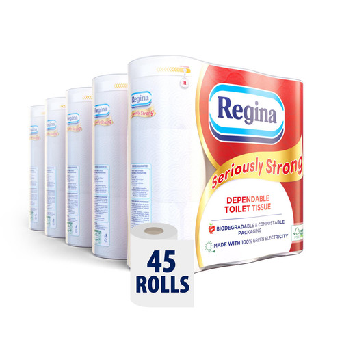 REGINA Seriously Strong 45 Toilet Rolls Multipack – 180 Super Soft 3 Ply Quilted Luxury Sheets Per Roll