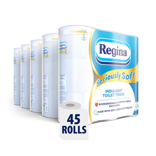 REGINA Seriously Soft 45 Toilet Rolls Multipack – 175 Super Soft 3 Ply Quilted Luxury Sheets Per Roll