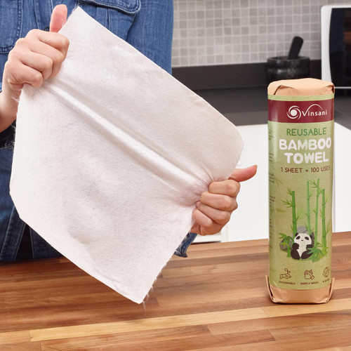 Vinsani® Reusable Bamboo Towels – Sheets of Super Strong Ultra Absorbent & Eco-Friendly Towels - Zero Plastic Packaging