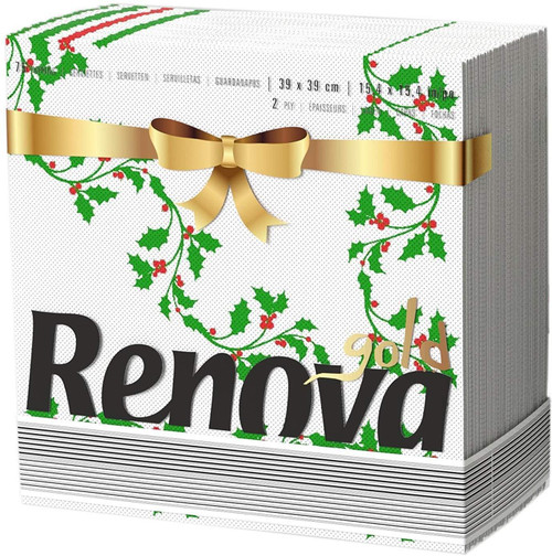 Renova 2 Ply Strong White Christmas Holly Design Printed Napkins - 75 Tissues Pack