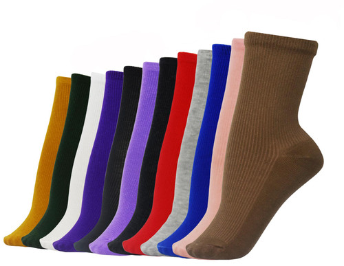 Vinsani® 12 Pairs of Plain Socks - Multicoloured Set of OneSize Socks for Men and Women