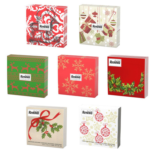 Renova 3 Ply Luxury Square Party Serviettes 20 Disposable Paper Napkins