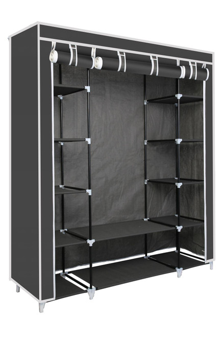 Vinsani Triple Canvas Clothes Cupboard Hanging Rail With Storage Shelves - Grey