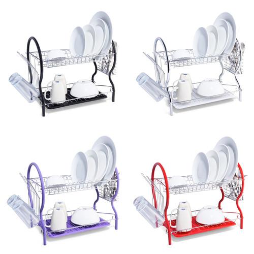 Vinsani® 2 Tier Contempo Dish Drainer Rack with Drip Trap