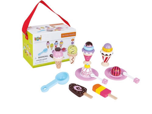 Lelin Wooden 21 Pieces Ice Cream Selection Pretend Play Set Lolly Shop Role Play Toy Colourful Variety Ideal Gift Develops Imagination for Kids Children Boys Girls 3+