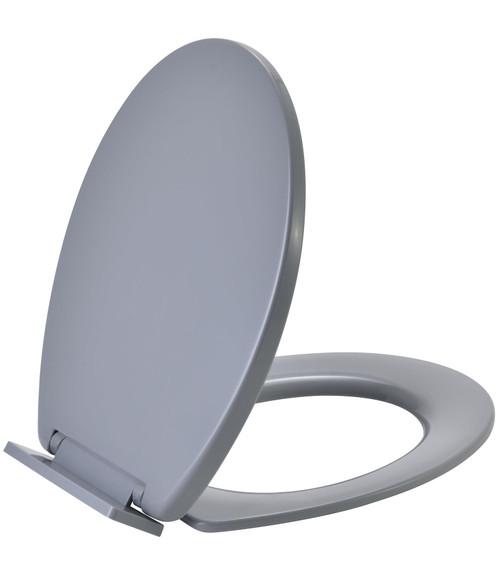 Vinsani Grey Oval Shaped Toilet Seat, Soft Close Toilet Seat, Fix Adjustable Hinges, WC Toilet Bathroom Plastic Loo Seat Easy Clean